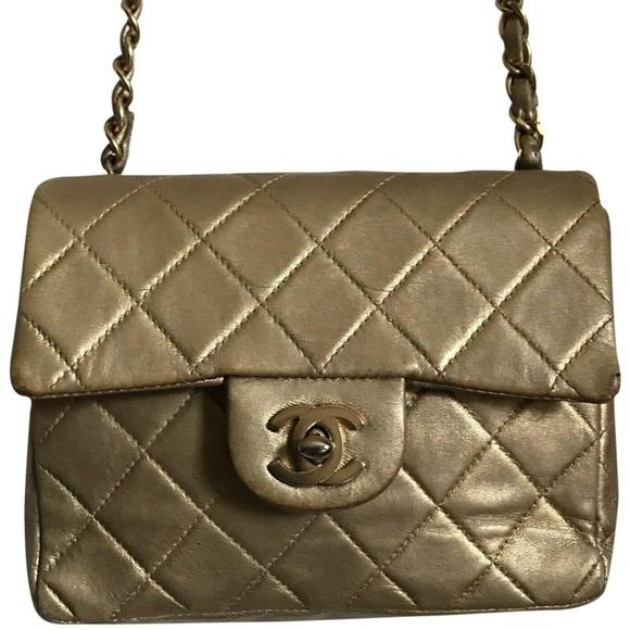 CHANEL Handbags - Chanel Mini Flap Gold Lambskin Leather Cross Body